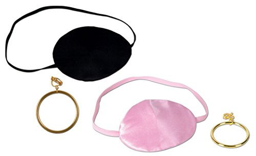 [One Pink and One Black Pirate Eye Patch with two Plastic Gold clip-on Earrings | Pirate Theme Costume Party Accessories] (Pirate Costume Party Ideas)