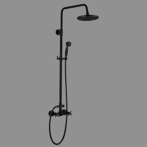 Sprinkle Oil-rubbed Bronze Shower Faucet Antique Centerset Rain Shower with Ceramic Valve Two Handles Three (Eva Centerset)