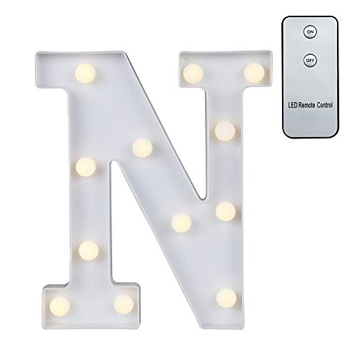 Carry360 LED Marquee Letters with Remote Control, Plastic LED Letter Lights Alphabet Light Up Sign Decoration, Letters A - Z, Numbers 0-9, Symbol & (N) -