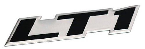 (ERPART LT1 Embossed Black on Silver Real Aluminum Auto Emblem Badge Nameplate Compatible with Chevy Corvette Buick Camaro Pontiac Trans AM Caprice SS Impala Cadillac Pontiac Firebird Z28)
