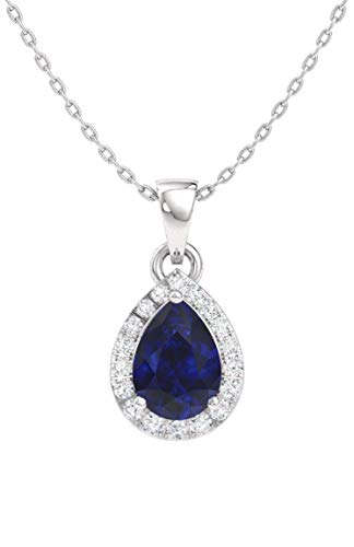Diamondere Natural and Certified Pear Blue Sapphire and Diamond Halo Drop Petite Necklace in 14k White Gold | 0.33 Carat Pendant with -