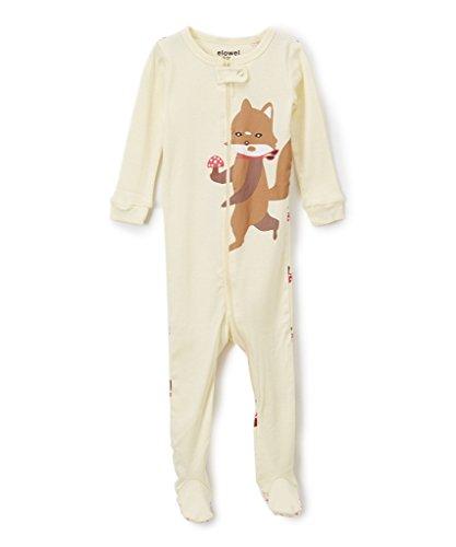 Elowel Baby Girls footed 'Fox' pajama sleeper 100% cotton 3 Toddler