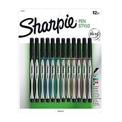 Fine Barrel Point Black (Sharpie Pens, Fine Point, 0.8 mm, Black/Silver Barrels, Assorted Ink Colors, Pack of 12)