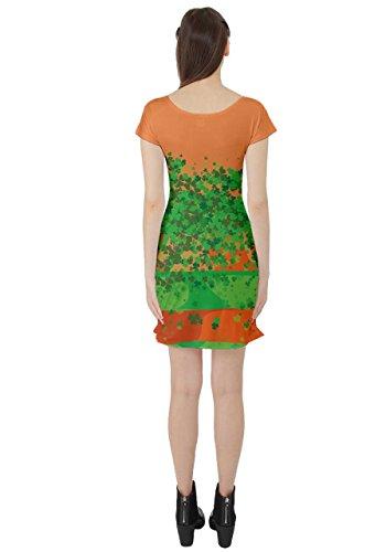 Motif Cowcow Femmes Trèfle Vert Clover Jour De St Patrick Laisse Robe Patineuse À Manches Courtes, Xs-5xl D'orange Shamrock