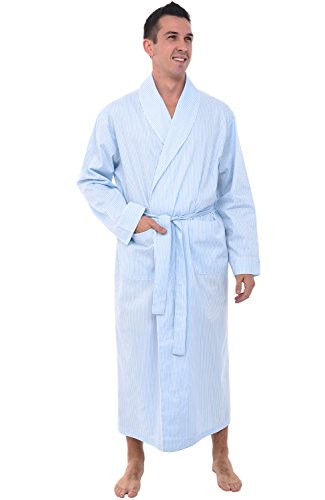 Alexander Del Rossa Men's Lightweight Cotton Robe, Woven Kimono, Large White and Blue Striped (A0715P16LG) ()