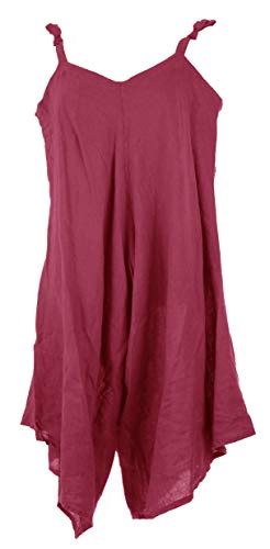 TEXTURE Ladies Womens Italian Lagenlook Wide Leg Linen Tie Jumpsuit Playsuit Romper One Size Burgundy