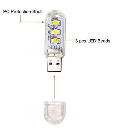 6 PCS Portable USB LED Light, Ebyphan Modern Night Lights, Cute USB Lamps for PC Notebook Computer Keyboard (Eye Protection LED Lamps, Yellow Warm Light) by Ebyphan (Image #2)
