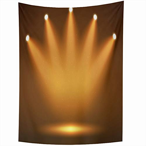 Ahawoso Tapestry 60 x 90 Inches Clubbing Yellow Light Spotlight On Stage Your Abstract Orange Fame Hall Celebration Dark Reveal Wall Hanging Home Decor Tapestries for Living Room Bedroom Dorm