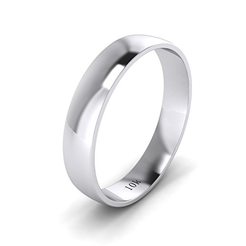 LANDA JEWEL Unisex Solid 10k White Gold 4mm Comfortable Traditional Highly Polished Wedding Ring Plain Band (7.5)