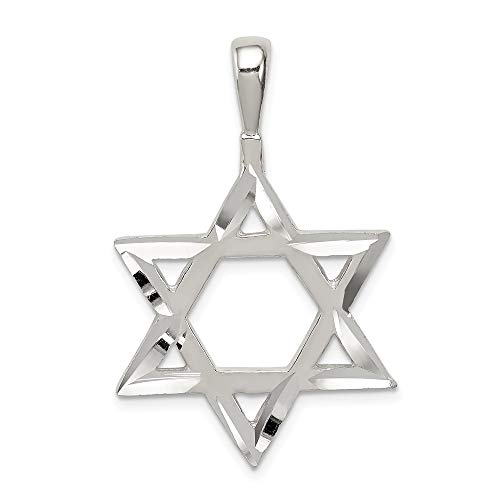 - Solid 925 Sterling Silver Star of David Pendant Charm (24mm x 37mm)