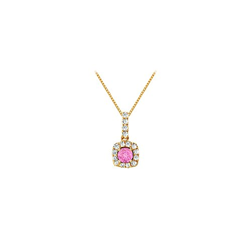 (Fancy Square Created Pink Sapphire and Cubic Zirconia Halo Pendant in Gold Vermeil over Sterling)