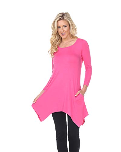 White Mark Makayla Tunic Top with Shark Bite Hemline & Pockets in Pink - X-Large from White Mark