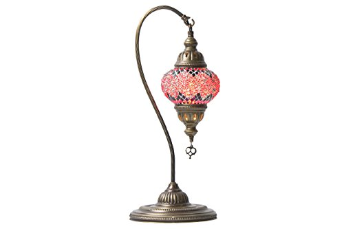 Handmade Turkish Mosaic Hanging Table Lamp (Egyptian, Arabian, Moroccan) (Red Purple Dot) by Oriental Lights
