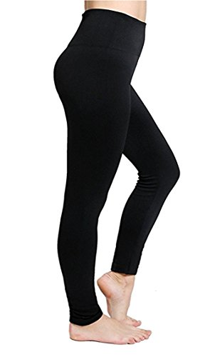 CakCton Fleece Women Leggings Workout For Winter High Waist Yoga Pants Stretchy Tights Black Color- One Size
