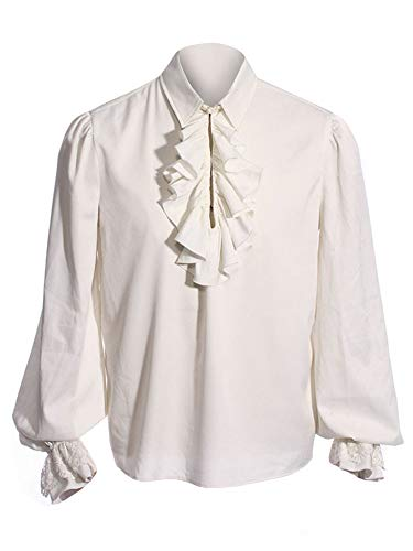 Pxmoda Men's Halloween Costumes Ruffled Gothic Steampunk Victorian Pirate Cosplay Shirts (XL,White)]()