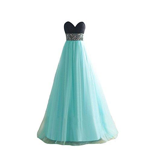 [Kivary Women's Chiffon Sweetheart Black Top Beaded Sequins A Line Long Corset Prom Evening Formal Dresses Blue US] (Blue Sequin Corset)