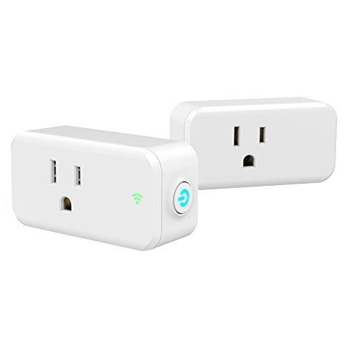 Price comparison product image Wifi Smart Plug, Woostar Wifi Plug Outlet Compatible with Amazon Alexa, Google Home, IFTTT, Wifi Socket Remote Controls Your Devices from Anywhere by Phone, 15A No Hub Required (2 Pack)