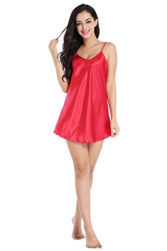 (SexyTown Women's Mini Babydoll Sleepwear Short Slip Lingerie Solid Chemise Nightgown Large Red(Mini))