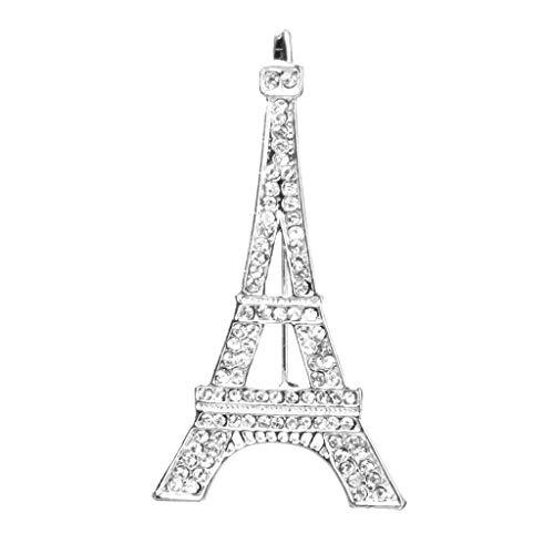 Novelty Eiffel Tower Design Broach Pin Brooch with Rhinestone Jewelry Gift