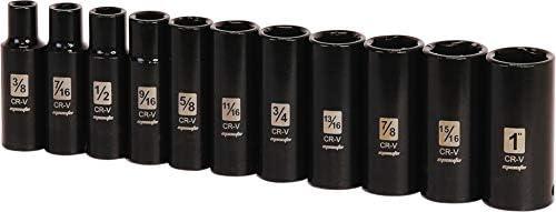 11 Sockets 6 Points Cr-V EPAuto 1//2-Inch Drive SAE Deep Impact Socket Set
