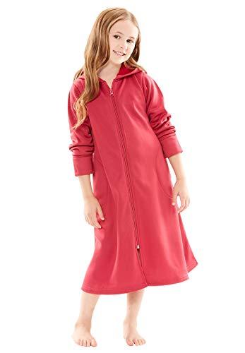 (Dreams & Co. Women's Plus Size Hooded Fleece Girl's Robe - Cherry Red, 10/12 (L))
