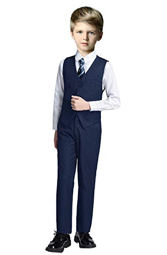 Fersumm Boy Slim Fit Suit Kids Formal Suits for Boys Vest Pants and Shirt Set