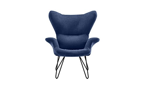 Accent Chair for Living Room, Linen Arm Chair with Natural Wooden Legs (Navy) by Divano Roma Furniture (Image #1)