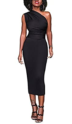 Bluewolfsea Women Bodycon Party Dress One Shoulder Elegant Cocktail Evening Pencil Formal Dress