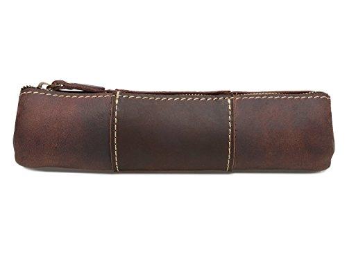 HANSHI klassisches Federmäppchen mit Reißverschluss aus Pferdleder.Handgefertigt.Geldbörse.Schreibwaren-/Künstlerzubehör, für Uni, Büro, Bleistift-Halter, Tasche, unisex (HBD01) (Hellbraun) Kaffeebraun