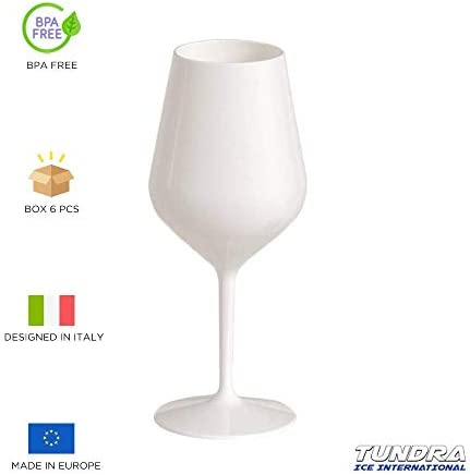 TUNDRA ICE INTERNATIONAL Copa de Vino de 6 Piezas, 47 cl, en Tritan® (plástico rígido, sin Bpa), Copas de Vino 100% Italian Design, irrompibles, Reutilizables y aptas para lavavajillas, Color Blanco
