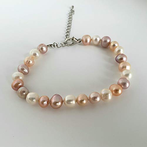 Pearl Bracelet Pink 7mm - Genuine Freshwater Pearls Bracelet. Adjustable Bracelet. 7-9 mm Pearls, Freshwater White, Pink Lavender and Peach Pearls Bracelet.