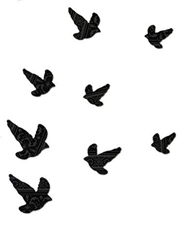 3D Wall Decor  Black Savvy Birds  8Pc