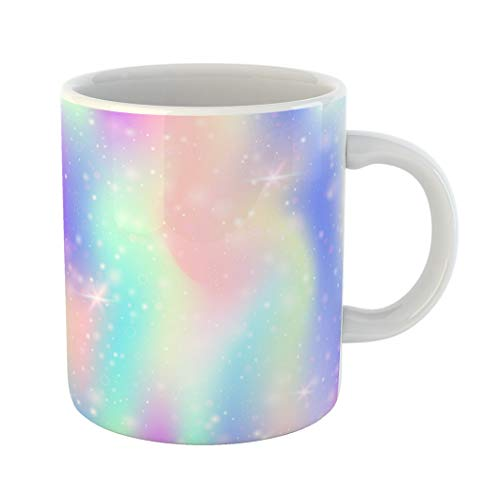 Emvency 11 Ounces Coffee Mug Blue Unicorn Holographic Abstract Minimal Gradient Mesh 90S 80S Retro Pearlescent Graphic for Mobile Screen Pink Rainbow White Ceramic Glossy Tea Cup gift