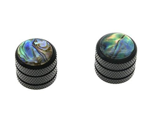 KAISH 2pcs Black Push on Fit Abalone Top Guitar Dome Knobs or Bass Knob for Tele Telecaster ()
