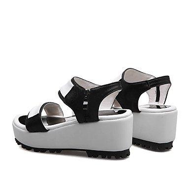 LvYuan Zapatos Mujer Trabajo y Sandalias del club Silver Vestido Oficina Cuña PU Tacón Negro Informal Plata aaRqr