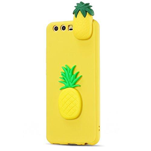 Funda Huawei P10, SpiritSun Soft Carcasa Funda Diseño Mate Opaco Ultrafina Kawaii 3D Diy Case TPU Bumper para Huawei P10 (5.1 pulgadas) Suave Silicona Piel Carcasa Ultra Delgado y Ligero Goma Flexible Pineapple