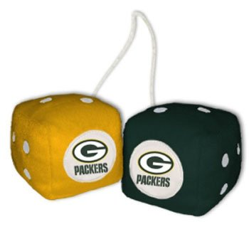 NFL Green Bay Packers Fuzzy Dice,one green, one yellow w/ - Mall Green Bay