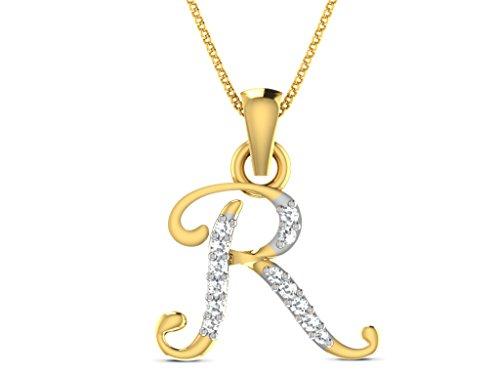 """Or Jaune 14 ct Pendentifs Diamant en forme de Alphabet """"R"""", 0.04 Ct Diamant, GH-SI, 0.6 grammes."""
