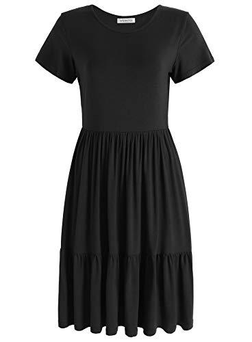 - Weintee Women's Swing Casual Dress Tiered Knee Length Dress 2X Black