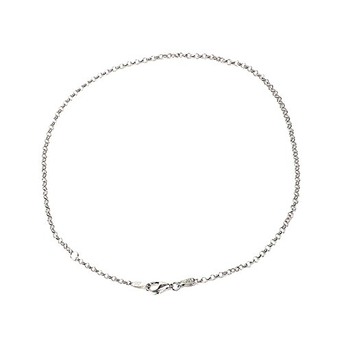 2.00 mm Round Rolo Chain Anklet with Pear Shape Clasp-Rhodium Finish (Anklet Lobster)
