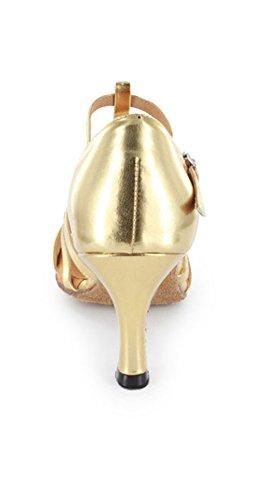 Tda Kvinners Komfortabel Åpen Tå Salsa Tango Ballroom Latin T-stropp Moderne Dansesko Gull