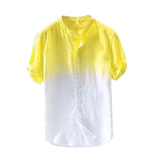 Summer Cotton Shirt Men Cool and Thin Breathable Collar Hanging Dyed Gradient Top D Yellow -