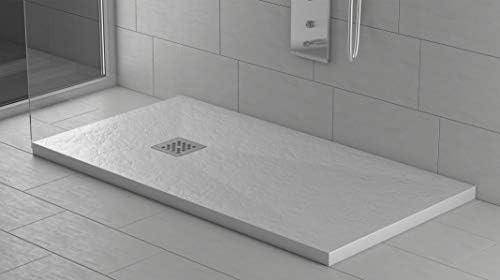 Sifone e Griglia Inox inclusi Bianco RAL 9003 Effetto Pietra e ultraslim Piatto doccia Resina Ardesia Antiscivolo Stone 90 x 120 Tutte le misure disponibili