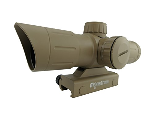 Monstrum Tactical 3x30 Ultra-Compact Rifle Scope with Illuminated Range Finder Reticle (Flat Dark Earth)