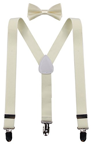 - PZLE Baby Boys' Adjustable Suspender and Bow Tie Set Cream 22 Inches