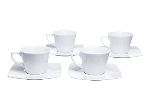 Mokko Coffee Espresso Cups and Square Saucers, Set 8 Pieces (for 4), 5.5 Ounce, White Porcelain, Restaurant Grade Quality - for Specialty Coffee Drinks, Latte, Cafe Mocca