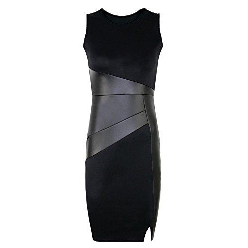 Romacci Women's Sleeveless Bodycon Dress Faux Leather Stitching Party Cocktail Dress Black