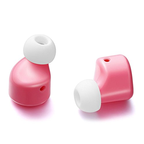 Greatgiftlist 2 PC Wireless Earbuds Headphones with Microphone, Mini Invisible 50 mAh Earphone V4.1 Stereo In-ear For Iphone Samsung And Other Android Phones (Pink) by Greatgiftlist