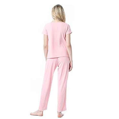 Modale V 2 Set Deylaying Donne notte pigiama biancheria Loungewear Nightwear With Rosa Top Collo pezzi da corte lunghi Tinta da Ragazze unita Pantaloni Maniche 4t5wwaq