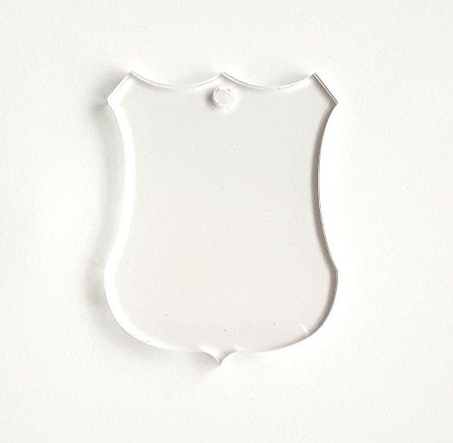 25 Acrylic Keychains Blank Police Badge Clear 1/8
